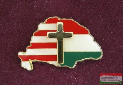 Kitűző - Nagy Magyarország, osztott, kereszttel