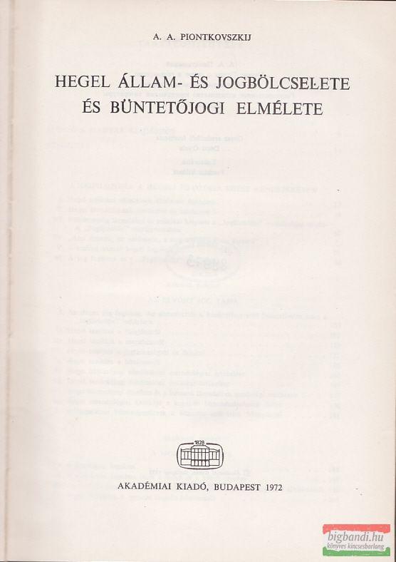 Hegel állam- és jogbölcselete és büntetőjogi elmélete