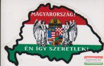 Autós matrica - Magyarország! Én így szeretlek! angyalos címerrel