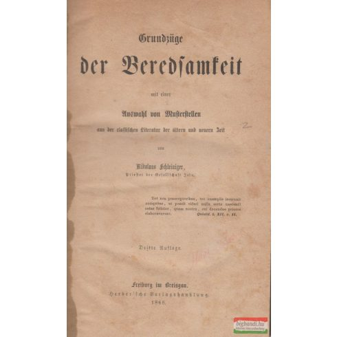 Nikolaus Schleiniger - Grundzüge der Beredsamkeit
