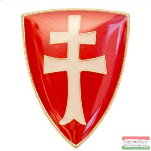 Kitűző - szabír-magyar pajzs, kettőskereszttel