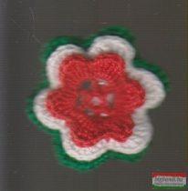 Kokárda - horgolt, virágos