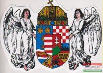 Autós matrica - angyalos, koronás címerrel