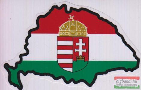 Autós matrica - Nemzeti színű koronás címerrel