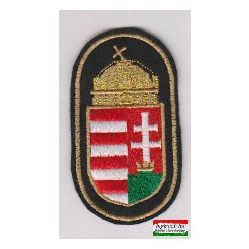 Felvarró - koronás címer fekete alapon