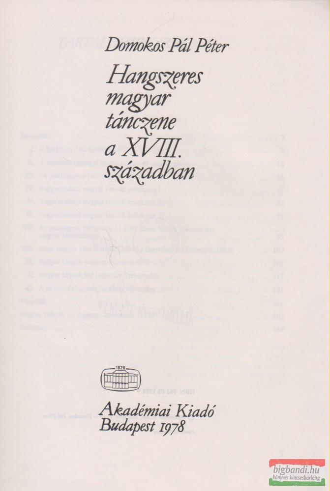 Hangszeres magyar tánczene a XVIII. században